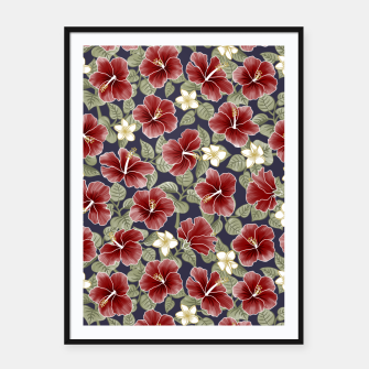 Thumbnail image of Hibiscus and Plumeria - Maroon  Cartel con marco, Live Heroes