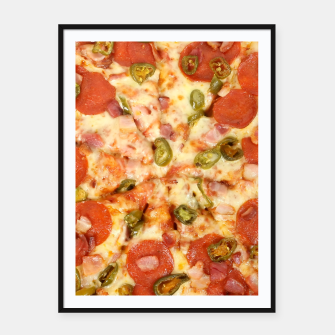 Thumbnail image of Jalapeño and Pepperoni Pizza Framed poster, Live Heroes