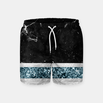 Thumbnail image of Black and White Marble Ocean Blue Glitter Stripe Glam #1 #minimal #decor #art  Badeshorts, Live Heroes