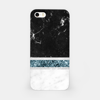 Thumbnail image of Black and White Marble Ocean Blue Glitter Stripe Glam #1 #minimal #decor #art  iPhone-Hülle, Live Heroes