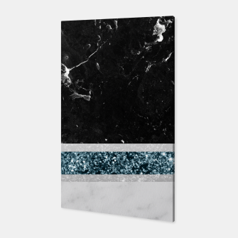 Thumbnail image of Black and White Marble Ocean Blue Glitter Stripe Glam #1 #minimal #decor #art  Canvas, Live Heroes