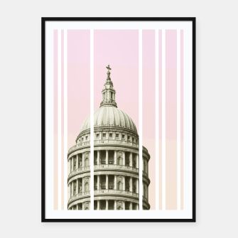 Thumbnail image of Pink Building Framed poster, Live Heroes