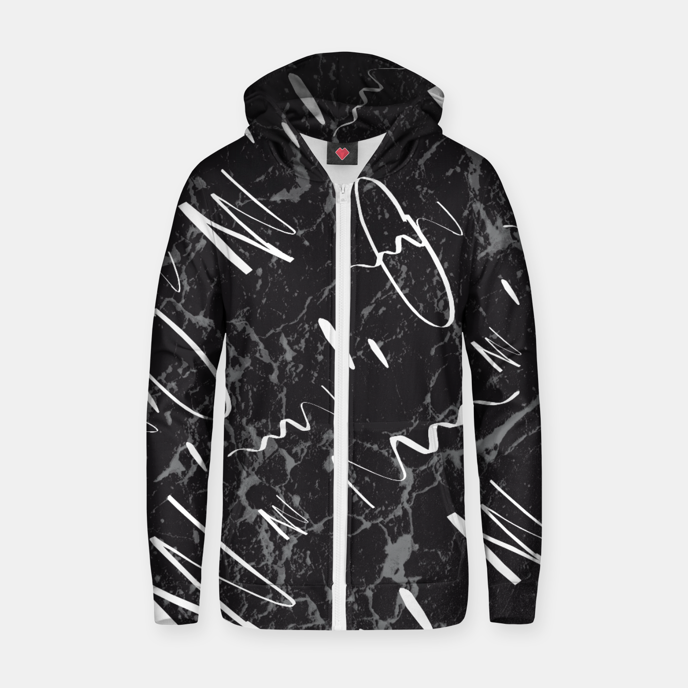 Zdjęcie Gray Black Marble White Abstract Glam #1 #trendy #decor #art Reißverschluss kapuzenpullover - Live Heroes