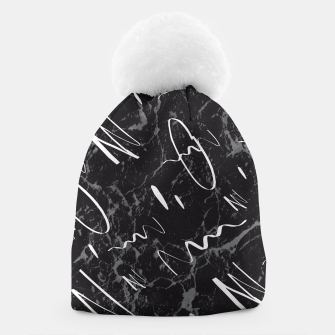 Thumbnail image of Gray Black Marble White Abstract Glam #1 #trendy #decor #art Mütze, Live Heroes