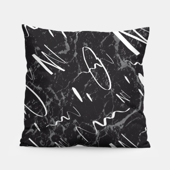Thumbnail image of Gray Black Marble White Abstract Glam #1 #trendy #decor #art Kissen, Live Heroes
