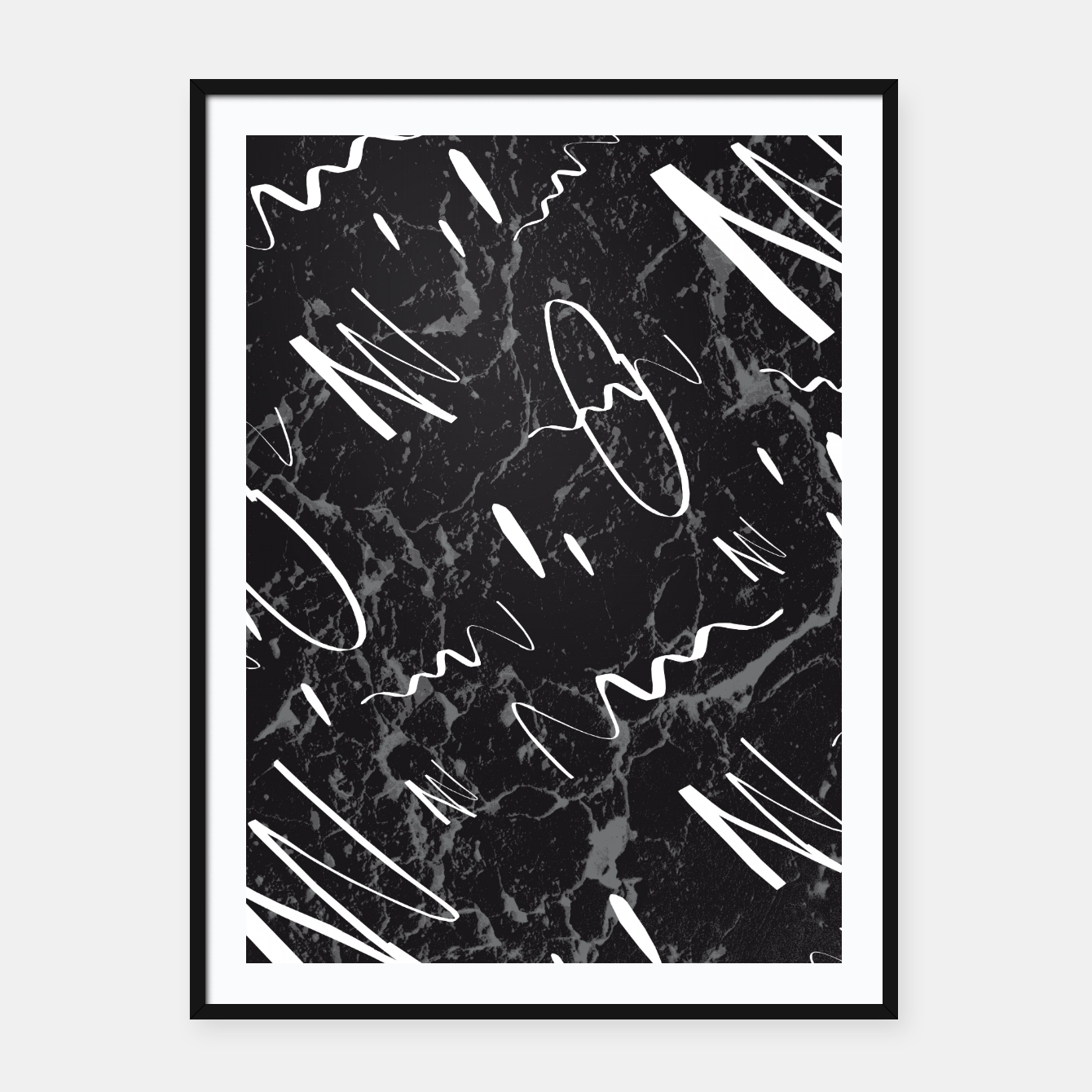 Zdjęcie Gray Black Marble White Abstract Glam #1 #trendy #decor #art Plakat mit rahmen - Live Heroes