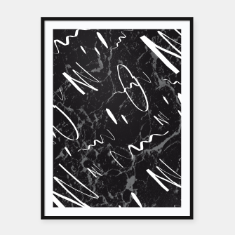 Miniatur Gray Black Marble White Abstract Glam #1 #trendy #decor #art Plakat mit rahmen, Live Heroes