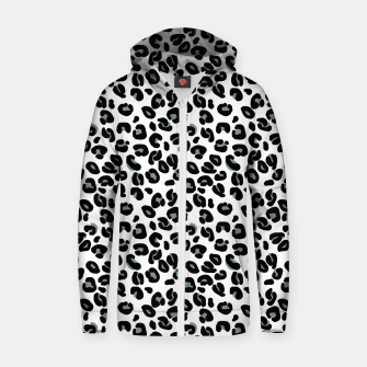 Miniatur Black and White Snow Leopard Spot Zip up hoodie, Live Heroes