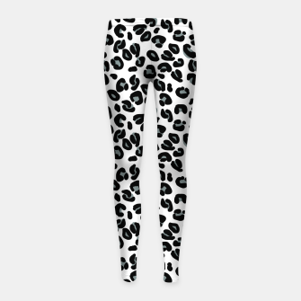 Thumbnail image of Black and White Snow Leopard Spot Girl's leggings, Live Heroes