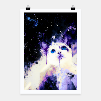 Miniatur cat blue eyes 2 wsml Poster, Live Heroes