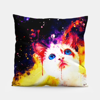 Miniatur cat blue eyes 2 wsstd Pillow, Live Heroes