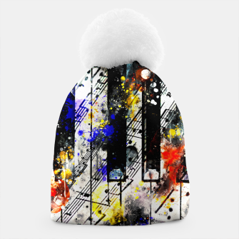 Miniatur piano keys and music sheet pattern wsstd Beanie, Live Heroes