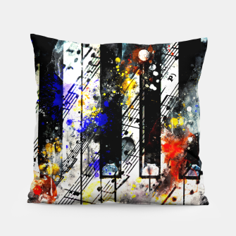 Miniatur piano keys and music sheet pattern wsstd Pillow, Live Heroes