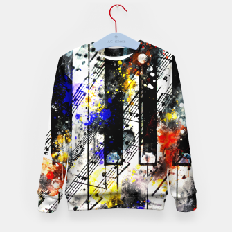 Thumbnail image of piano keys and music sheet pattern wsstd Kid's sweater, Live Heroes