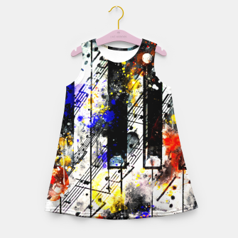 Thumbnail image of piano keys and music sheet pattern wsstd Girl's summer dress, Live Heroes