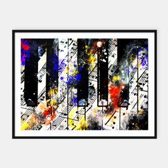 Miniatur piano keys and music sheet pattern wsstd Framed poster, Live Heroes