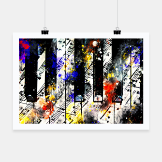 Miniatur piano keys and music sheet pattern wsstd Poster, Live Heroes