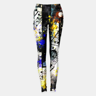 Miniatur piano keys and music sheet pattern wsstd Leggings, Live Heroes