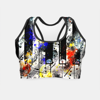 Thumbnail image of piano keys and music sheet pattern wsstd Crop Top, Live Heroes