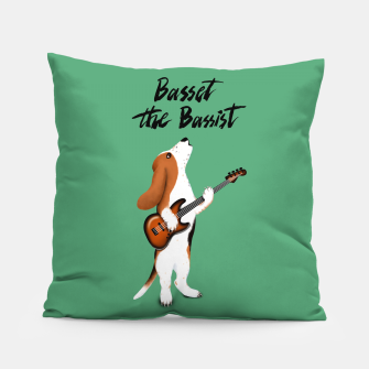 Thumbnail image of Basset the Bassist (Green) Pillow, Live Heroes