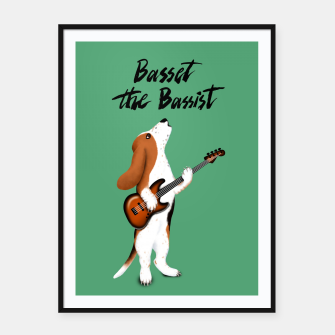 Thumbnail image of Basset the Bassist (Green) Framed poster, Live Heroes