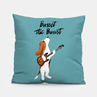 Thumbnail image of Basset the Bassist (Blue-Grey) Pillow, Live Heroes