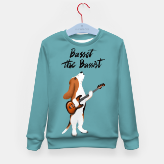 Thumbnail image of Basset the Bassist (Blue-Grey) Kid's sweater, Live Heroes