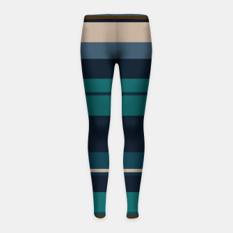 minimalistic horizontal stripes pattern hbi Girl's leggings imagen en miniatura