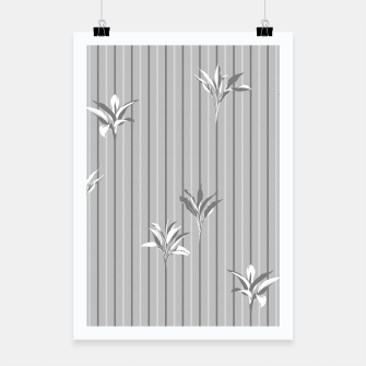 Miniaturka Gray and white Leaves & Lines Poster, Live Heroes