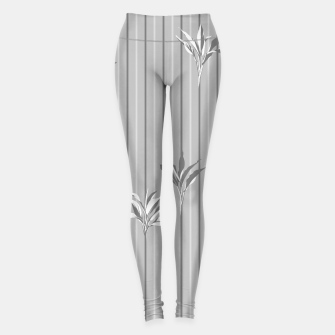 Miniaturka Gray and white Leaves & Lines Leggings, Live Heroes