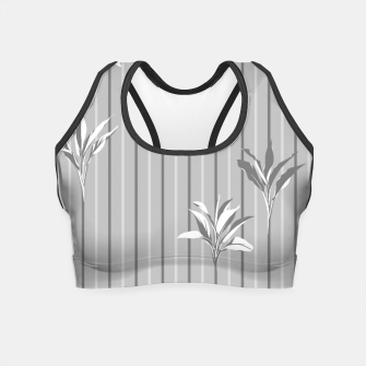 Miniaturka Gray and white Leaves & Lines Crop Top, Live Heroes