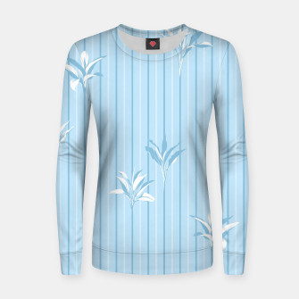 Blue and white Leaves & Lines Women sweater thumbnail image
