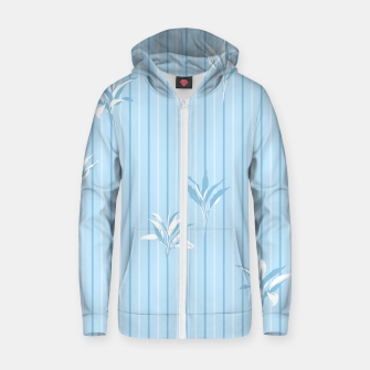 Blue and white Leaves & Lines Zip up hoodie thumbnail image