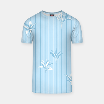 Blue and white Leaves & Lines T-shirt thumbnail image