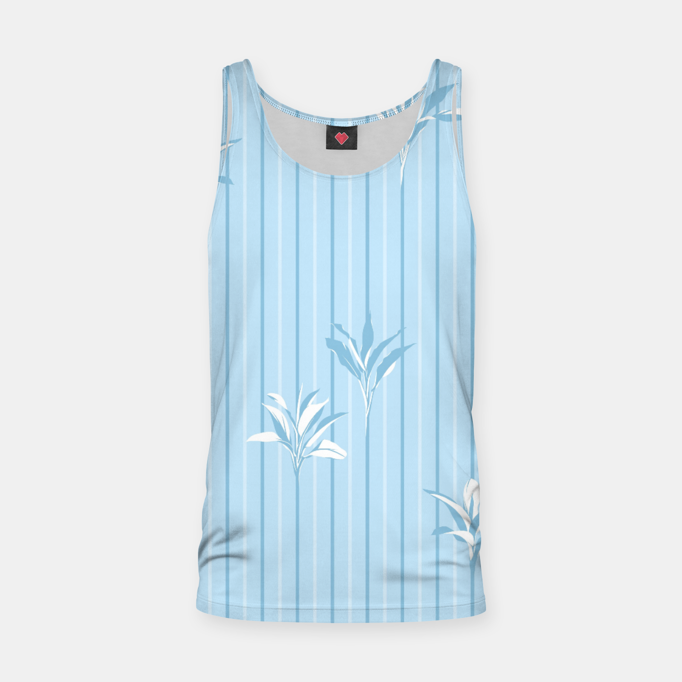 Image of Blue and white Leaves & Lines Tank Top - Live Heroes