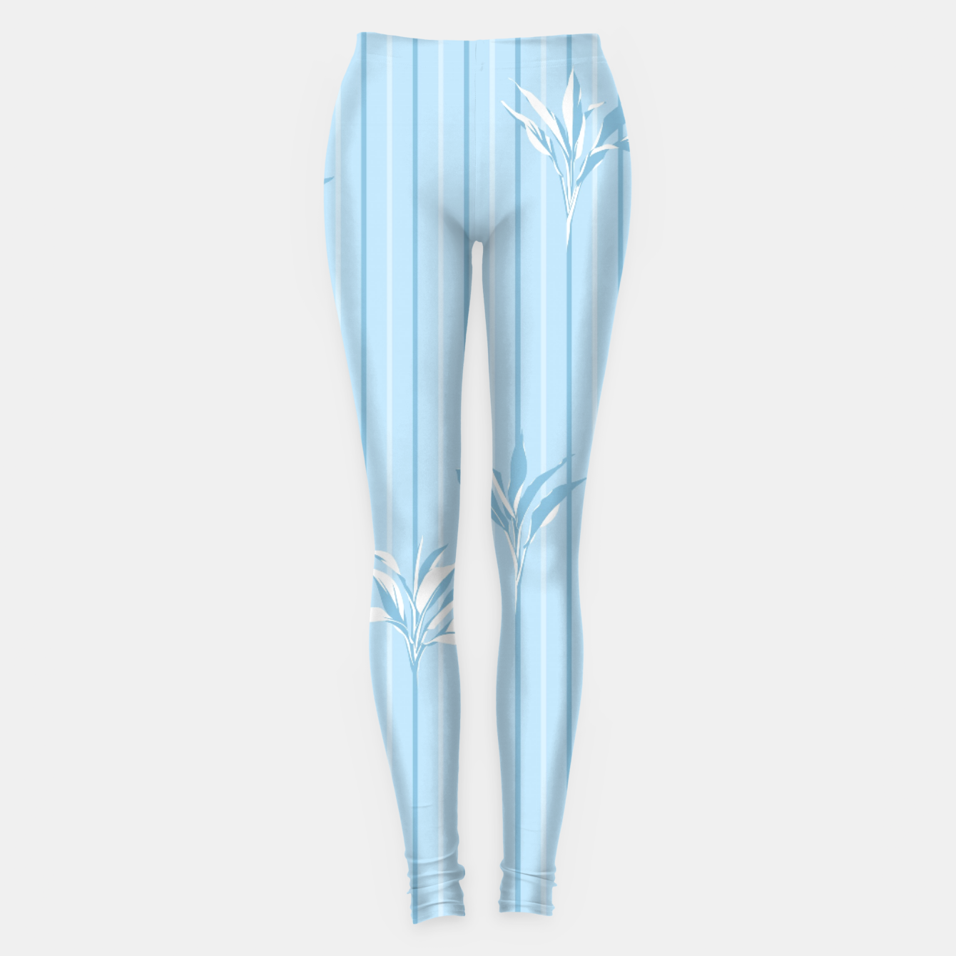 Image of Blue and white Leaves & Lines Leggings - Live Heroes