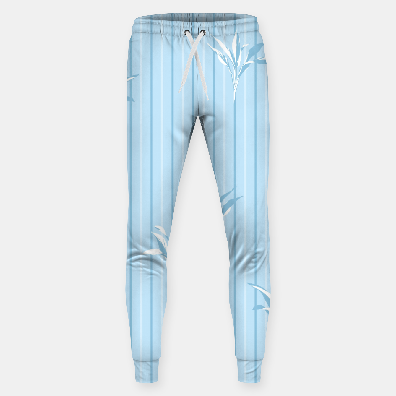 Image of Blue and white Leaves & Lines Sweatpants - Live Heroes