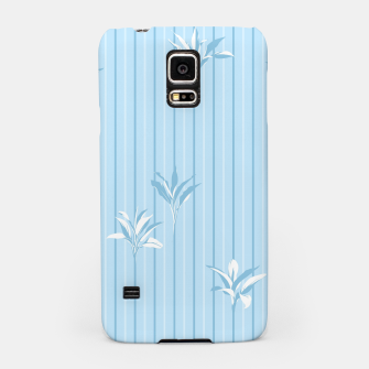 Blue and white Leaves & Lines Samsung Case thumbnail image