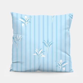 Blue and white Leaves & Lines Pillow thumbnail image