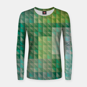 Thumbnail image of Geometric green triangles pattern Women sweater, Live Heroes