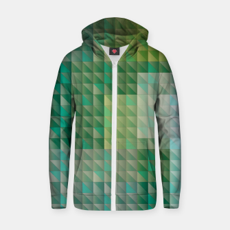 Thumbnail image of Geometric green triangles pattern Zip up hoodie, Live Heroes