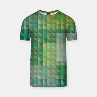 Thumbnail image of Geometric green triangles pattern T-shirt, Live Heroes