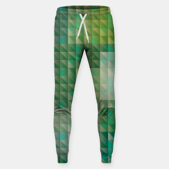 Thumbnail image of Geometric green triangles pattern Sweatpants, Live Heroes
