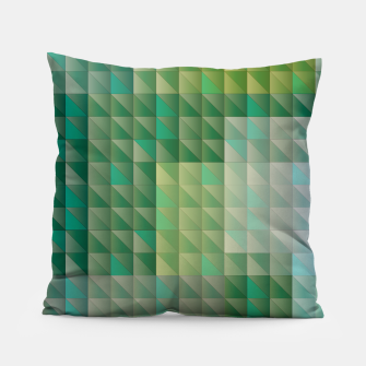 Thumbnail image of Geometric green triangles pattern Pillow, Live Heroes