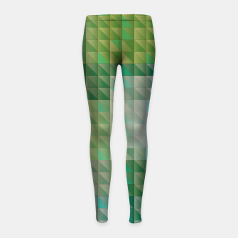 Thumbnail image of Geometric green triangles pattern Girl's leggings, Live Heroes