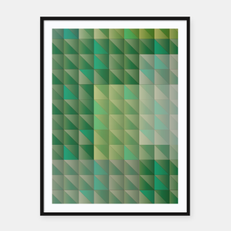 Thumbnail image of Geometric green triangles pattern Framed poster, Live Heroes