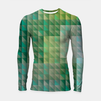 Thumbnail image of Geometric green triangles pattern Longsleeve rashguard , Live Heroes