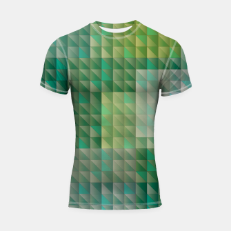 Thumbnail image of Geometric green triangles pattern Shortsleeve rashguard, Live Heroes