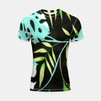 Thumbnail image of Tropical Leaf Shortsleeve rashguard, Live Heroes