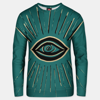 Miniatur Evil Eye Gold Black on Teal #1 #drawing #decor #art Unisex sweatshirt, Live Heroes